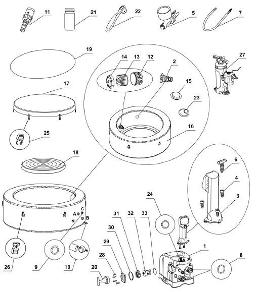 spa intex gonflable piece detachee. Black Bedroom Furniture Sets. Home Design Ideas